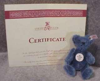 Steiff Club Gift 1998 Blue Teddy Bear NIB Button Tags