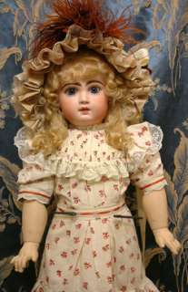 26 CLOSED MOUTH TETE JUMEAU BEBE ANTIQUE FRENCH DOLL BLUE PW EYES $