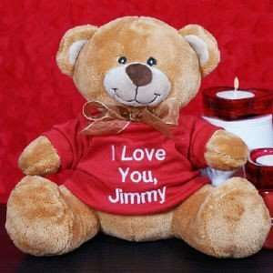 Embroidered Valentine Message Teddy Bear Toys & Games