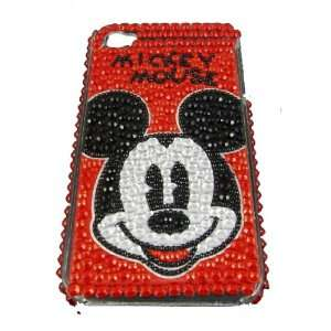 Mickey Mouse Red Crystal & Rhinestone Iphone 4 Case ships with FREE