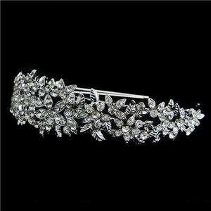 Hair Head Band Tiara Rhinestone Crystal Clear Floral Leaf