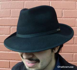 NEW Mens Fedora Hat SCALA Black Wool Felt Packable Water Repellant 2