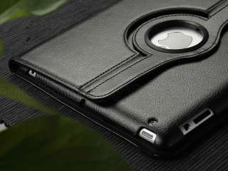 Black 360°Rotating PU Leather Smart Cover Case For New iPad 3 3rd W