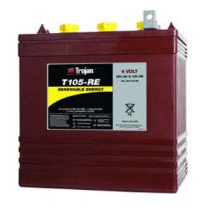 Trojan T 105RE CR 225 6V 225Ah GC2 Deep Cycle Battery |