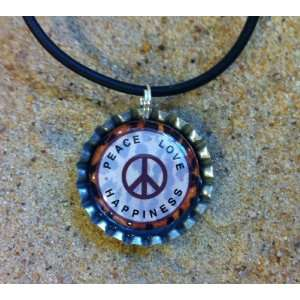 Leopard Print Peace Sign Bottle Cap Necklace, 16 with