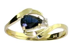 14K GOLD RING W/ GENUINE DIAMOND & NATURAL PEAR SHAPED SAPPHIRE
