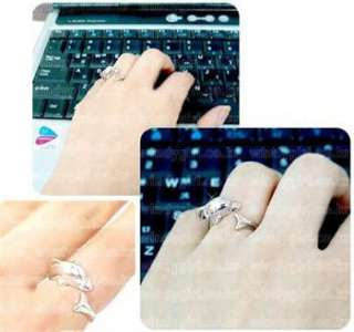 Lovely Romantic Cute Dolphin Ring For Lady Girl sliver great gift