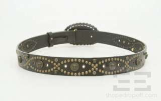 Gianni Versace Black Leather & Brass Studded Belt Size 100/40