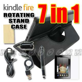 Kindle Fire PU Leather Case Cover /Car Charger/USB Cable