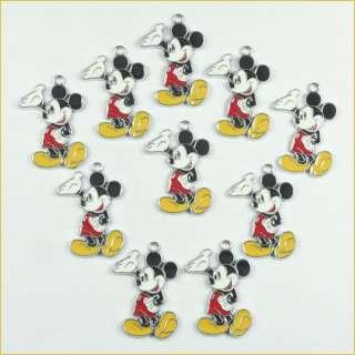 Lot Wholesale 10pcs Mickey Mouse Metal Charm Pendants Jewerly Making