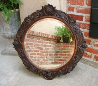 Antique English Carved OAK Pineapple ROUND Beveled Wall Mirror Black