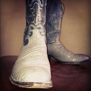 Vintage JUSTIN Elephant Skin Leather Cowboy Western Rockabilly mens