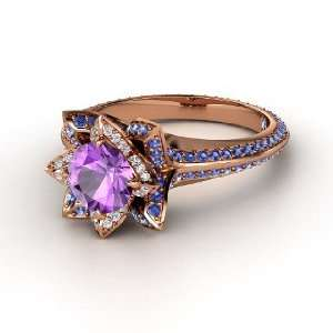 Pave Lotus Ring, Round Amethyst 14K Rose Gold Ring with Diamond