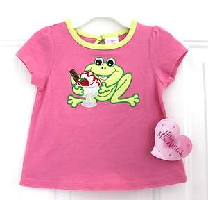 LITTLE MISS ATTITUDE PINK T SHIRT WITH GREEN FROG 9M NWT