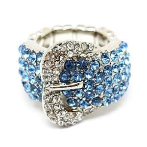 Buckle Fashion Design Crystal Pave Stretch Ring Blue
