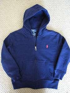 NWT Polo Ralph Lauren Sweatshirt Hoodie Jacket Zip Fleece Navy Blue