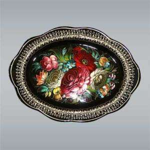 painted TRAY with floral ornaments. Vintage Russian style. Black metal
