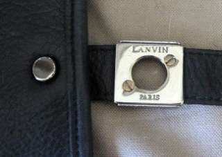 LANVIN Black Large Leather Messenger Bag Tote   RARE
