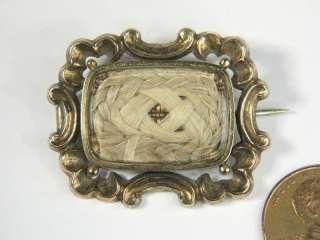 ANTIQUE ENGLISH 15K GOLD HAIR LOCKET MOURNING PIN BROOCH c1840 NO RES