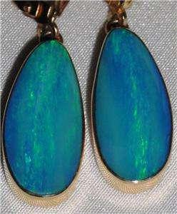 Pretty Estate 14Kt Yellow Gold Opal Dangle Earrings w/Leverbacks Exc