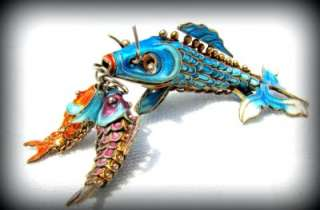EXQUISITE Old CHINESE IMPORT Articulated ENAMELTriple FISH