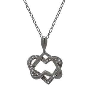 Inspiration Silver Crystal Entwined Hearts Necklace Jewelry