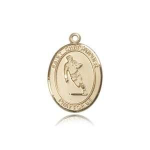 14kt Gold St. Saint Christopher / Field Hockey Medal 1 x 3