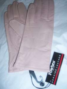 Ladies Fownes Pink Leather Gloves,Large