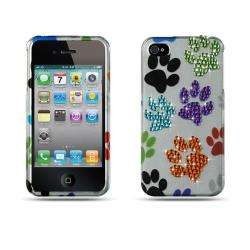 Premium Apple iPhone 4/ 4S Color Dog Paws with Rhinestones Case