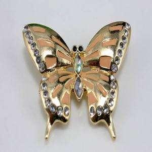 vintage retro gold orange butterfly brooch hat bag pin