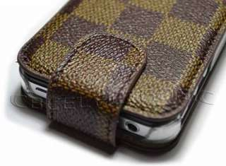 brown flip pu leather case for apple iphone 4g 4s