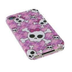 rooCASE Apple iPhone 4 Pink Skull Bow Case