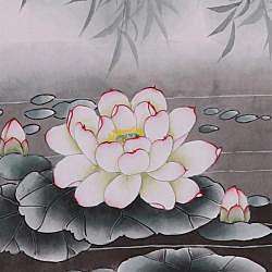and Lotus Flower Wall Art Scroll Painting (China)
