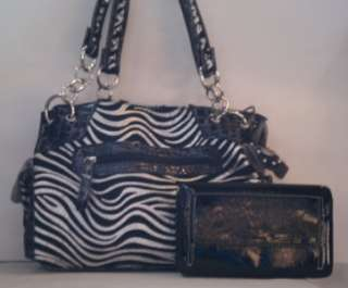 Black Silver Zebra Western Rhinestone Cross Handbag Purse Flat Wallet