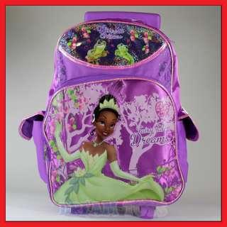 16 Disney Tiana Princess Rolling Backpack Roller/Bag