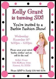 Personalized Custom Barbie Birthday Invitations ~ Style #1