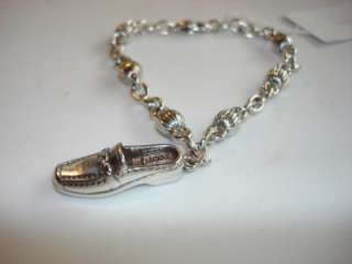 BRIGHTON SILVER SLIP ON SHOE LOVE CHARM BRACELET NEW