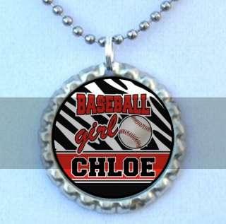 Zebra Baseball Girl Personalized Flattened Bottlecap Necklace