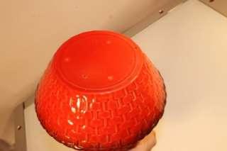VTG ART POTTERY BRIGHT RED BASKETWEAVE PITCHER VASE W SPOUT NR