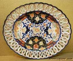Antiq c1880s IMARI Platter Reticulated Blue Orange Gold