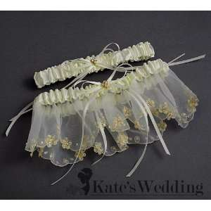 Wedding Garter Set Lace Ivory Satin with Goldtone Heart