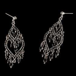 Kenneth Jay Lane Gunmetal Black Stone Earrings