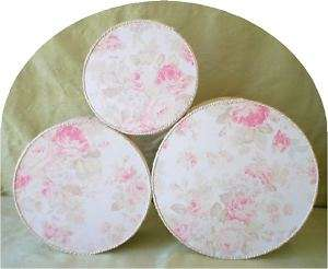 Fabric Covered Hat Boxes, Roses on Buttery Cream, LG,