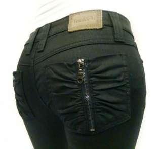 NWT FRANKIE B Low Rise Zip It Pocket Black Gold Skinny Legging Jeans