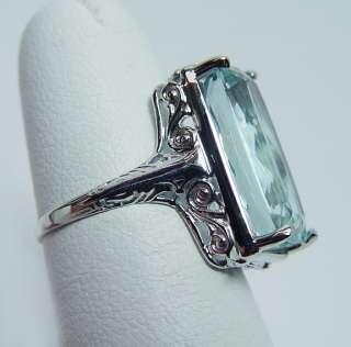 Antique 7.4ct Aquamarine Filigree Ring 14K White Gold Estate Jewelry