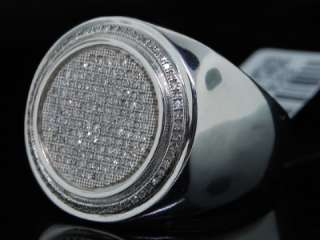 MENS WHITE GOLD FINISH WHITE PAVE DIAMOND PINKY RING