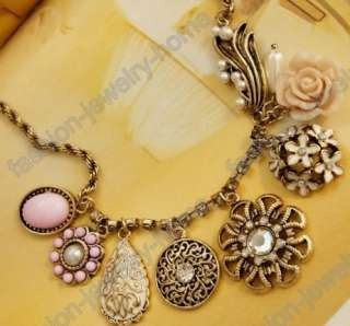 New Charming crystal coral charm flower rose Necklace