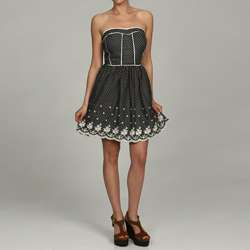 Miss Sixty Womens Polka Dot Embroidered Strapless Dress