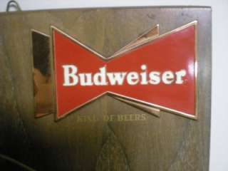 VINTAGE 1957 BUDWEISER ANHEUSER BUSCH A & EAGLE METAL & WOOD BEER SIGN