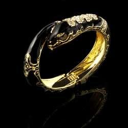 Kenneth Jay Lane Black Enamel Snake Bracelet